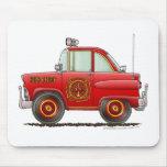 Jefe de bomberos del coche del bombero del bombero alfombrilla de ratones