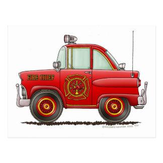 Jefe de bomberos del coche del bombero del bombero tarjetas postales