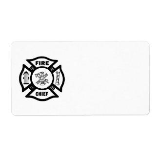 Jefe de bomberos etiqueta de envío