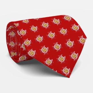 Jefe de bomberos jubilado 5 del bugle del medallón corbata personalizada