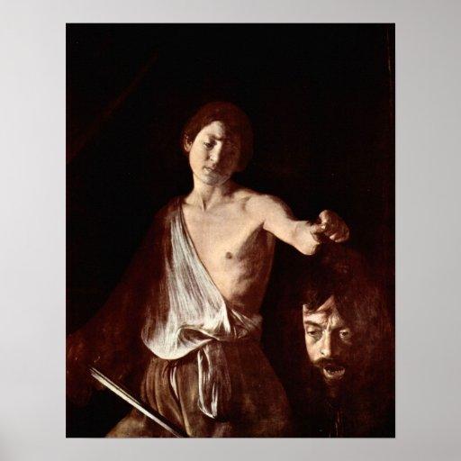 Jefe de Caravaggio-The de la medusa, Tondo Póster