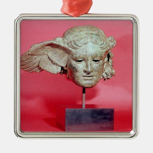 Jefe de Hypnos, copia de una original helenística Adorno Cuadrado Plateado