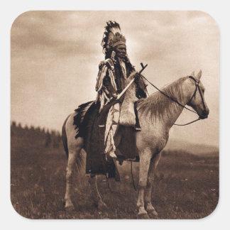 Jefe de la guerra del indio de llanos del vintage pegatina cuadrada