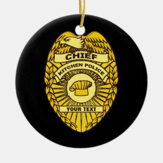 Jefe de la insignia de la policía de cocina adorno navideño redondo de cerámica