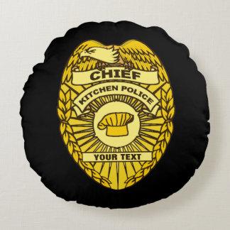 Jefe de la insignia de la policía de cocina cojín redondo