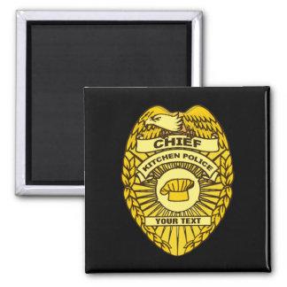 Jefe de la insignia de la policía de cocina imán cuadrado