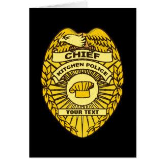 Jefe de la insignia de la policía de cocina tarjeta de felicitación