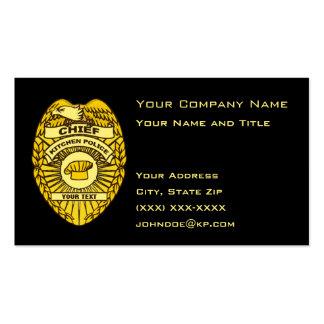 Jefe de la insignia de la policía de cocina tarjetas de visita
