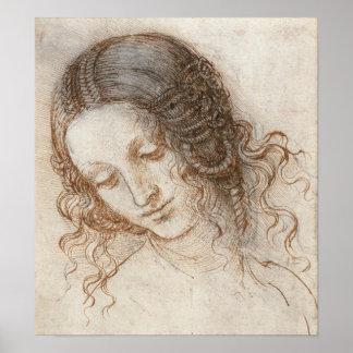 Jefe de Leonardo del dibujo de la mujer Posters