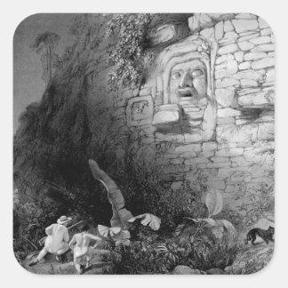 Jefe de Na de Itzam Izamal Yucatán México 1844 Calcomania Cuadradas