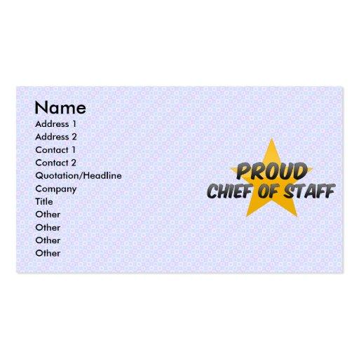 Jefe de personal orgulloso tarjetas de visita
