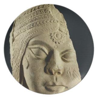 Jefe de piedra arenisca roja de Yakshi Bharhut s Platos