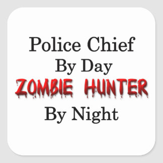 Jefe de policía/cazador del zombi pegatina cuadrada