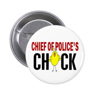 Jefe de policía del polluelo pin redondo 5 cm