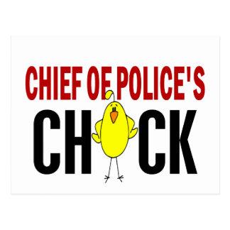 Jefe de policía del polluelo tarjeta postal