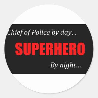 Jefe de policía del super héroe pegatina redonda