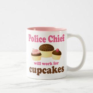 Jefe de policía divertido taza de café de dos colores