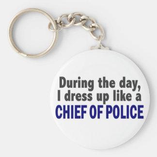 Jefe de policía durante el día llavero redondo tipo pin