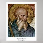 Jefe de St. Benedicto por Fra Angelico Póster