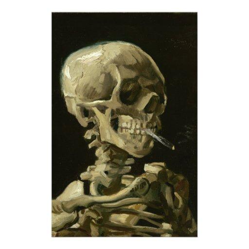 Jefe de un esqueleto con un cigarrillo ardiente papelería personalizada