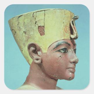 """Jefe de un """"maniquí"""" del Tutankhamun joven Pegatina Cuadrada"""