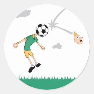 Jefe del balón de fútbol etiqueta redonda