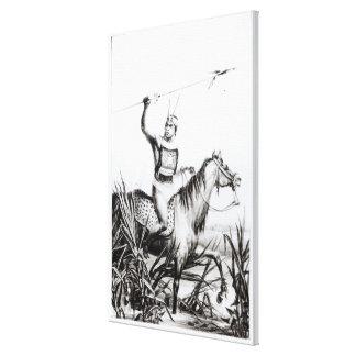 Jefe del Charruas, grabado por C. Motte Impresión De Lienzo