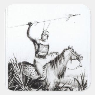 Jefe del Charruas, grabado por C. Motte Pegatina Cuadrada