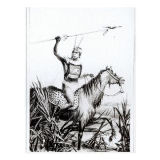 Jefe del Charruas, grabado por C. Motte Postal