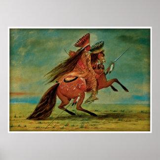 Jefe del cuervo de George Catlin 1850 Posters