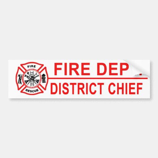 Jefe del distrito del cuerpo de bomberos pegatina de parachoque