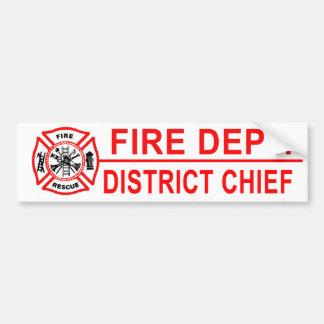 Jefe del distrito del cuerpo de bomberos pegatina para auto