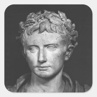 Jefe del emperador Augustus Pegatina Cuadrada