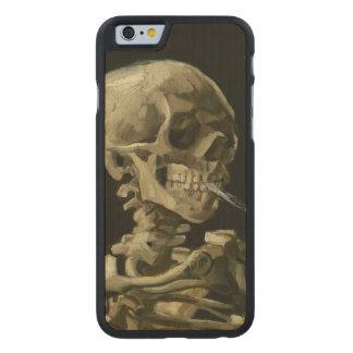 Jefe del esqueleto con el cigarrillo de Van Gogh Funda De iPhone 6 Carved® Slim De Arce