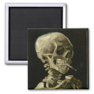 Jefe del esqueleto con el cigarrillo de Van Gogh Imán De Nevera