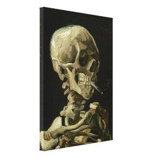 Jefe del esqueleto con el cigarrillo de Van Gogh Lona Estirada Galerías