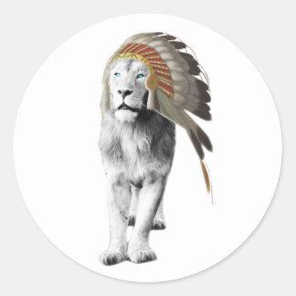 Jefe del león pegatina redonda