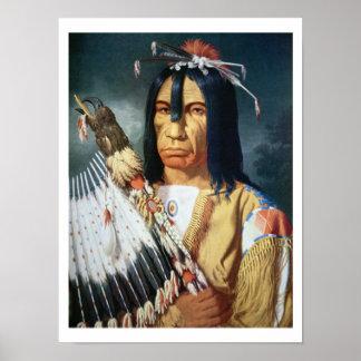 Jefe del nativo americano de la población del Cree Póster