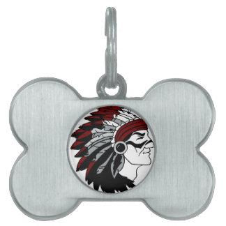 Jefe del nativo americano placa de nombre de mascota