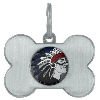Jefe del nativo americano placas mascota