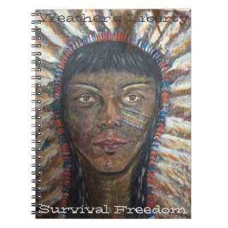 Jefe del nativo americano y cuaderno del lema