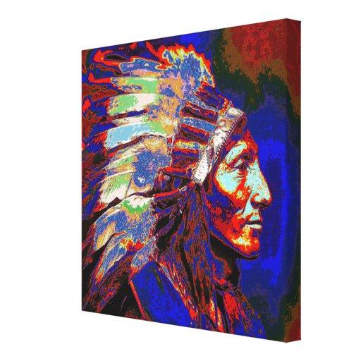 Jefe indio americano impresión en lienzo