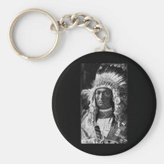 Jefe indio americano llavero redondo tipo pin