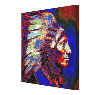 Jefe indio americano lona envuelta para galerias