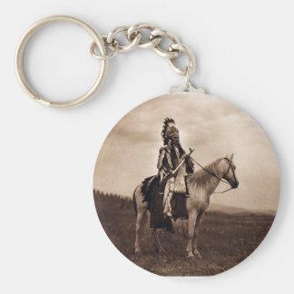 Jefe indio de la guerra del vintage llavero redondo tipo pin