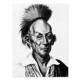 Jefe indio de Sauk del halcón del saco negro del ~ Postal