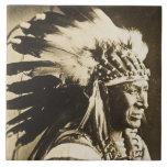 Jefe indio de Siux del cisne blanco Azulejos Cerámicos