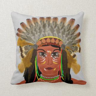 Jefe indio del nativo americano cojín decorativo