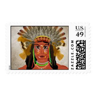 Jefe indio del nativo americano en tocado envio