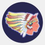 Jefe indio del nativo americano etiqueta redonda